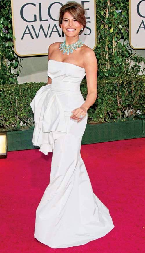 Eva Mendes et sa robe blanche à la cérémonie des Golden Globe 2013