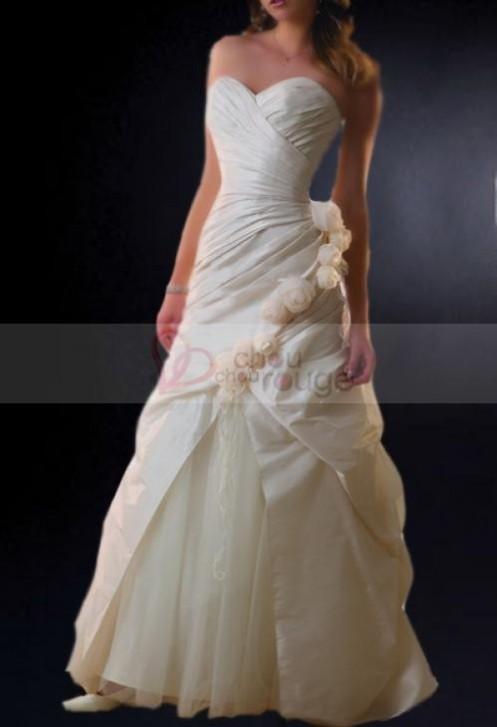Robe de mariée de noël bustier A-line longue à ligne florale